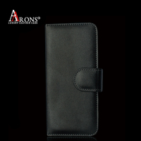 Black strap close folio opening leather case for iphone 6s
