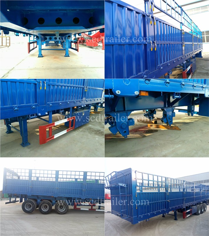 3 axle 40ft 40ton high drop side board cattle gated stake steel cage fence cargo semi trailer for sale