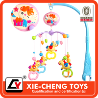 Baby electronic ratating color children music bed bell rattle, hanging plastic baby musical bed bell baby sound toy