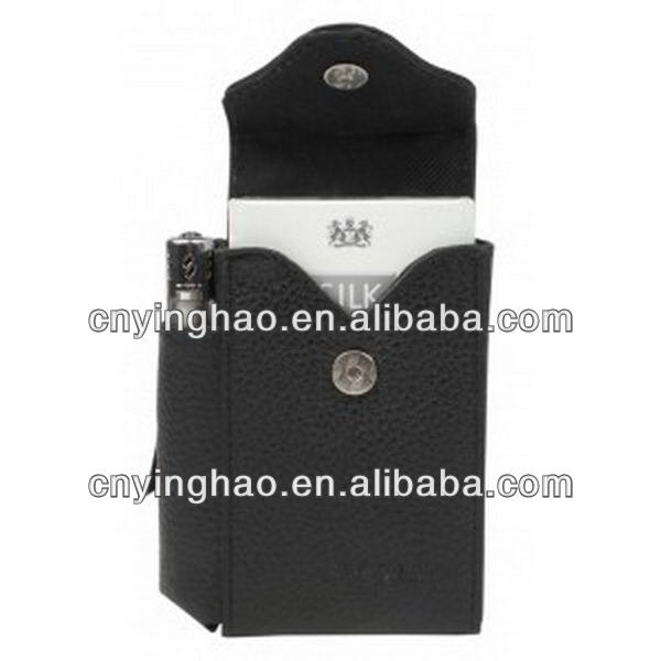High quality classical leather cigarette case w/lighter holder