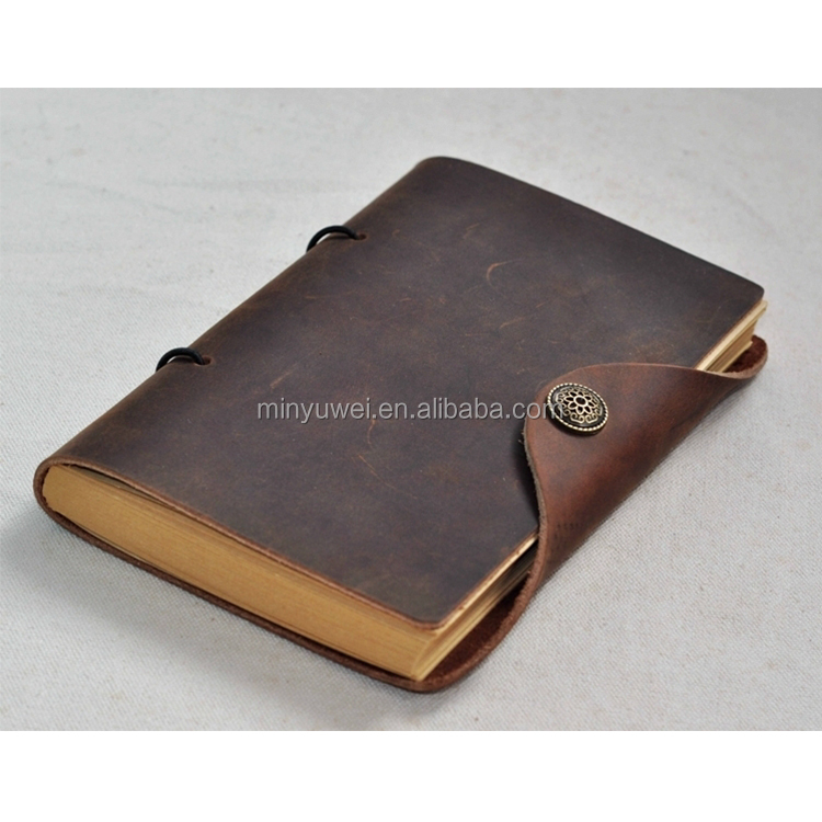 coffee best leather notebook with kraft paper crazy horse travel journal notebook handmade hot selling