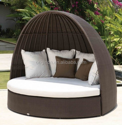 Indian style home pool side synthetic rattan sun furniture canopy bed outdoor