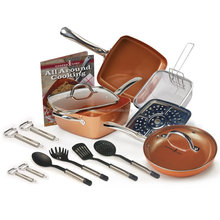 16 piece Copper aluminum nonstick pans with lid as seen on tv in Kitchen&dinning