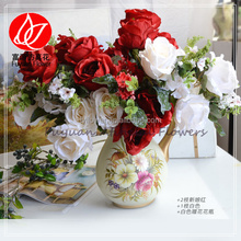 140830 Wholesale artificial rose bouquet wedding decorative roses flowers china supplier
