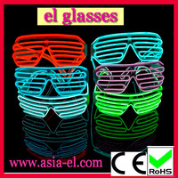 Light up EL wire sun glasses with fluorescence with muti-color red orange purple pink blue