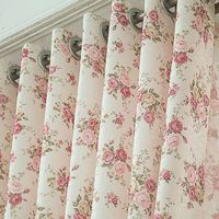 New curtains living room bedroom semi-shade garden floral fabric curtain fabric finished Discounted