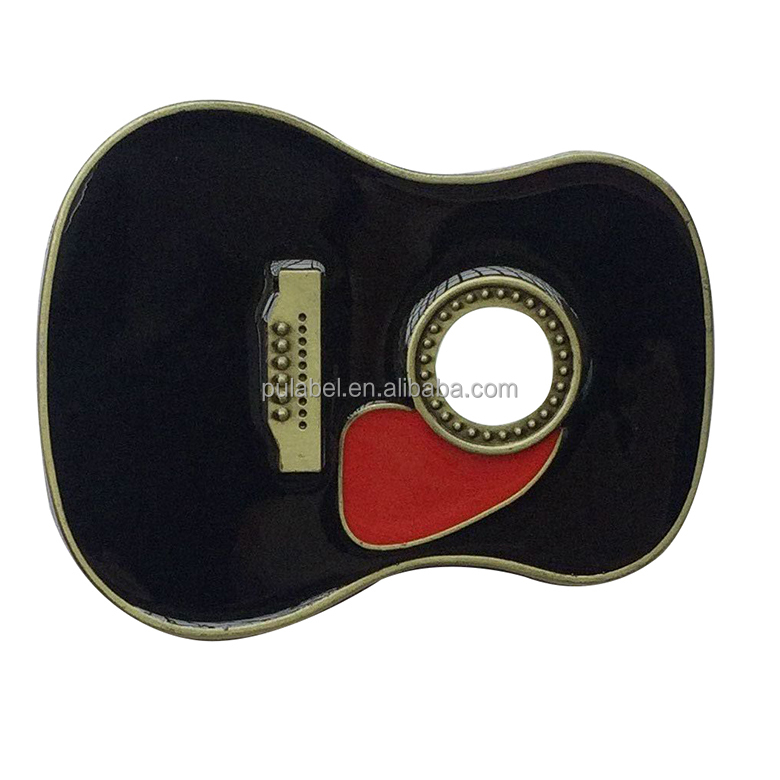 Hot sale garment accessories guitar shape western clamp belt buckle