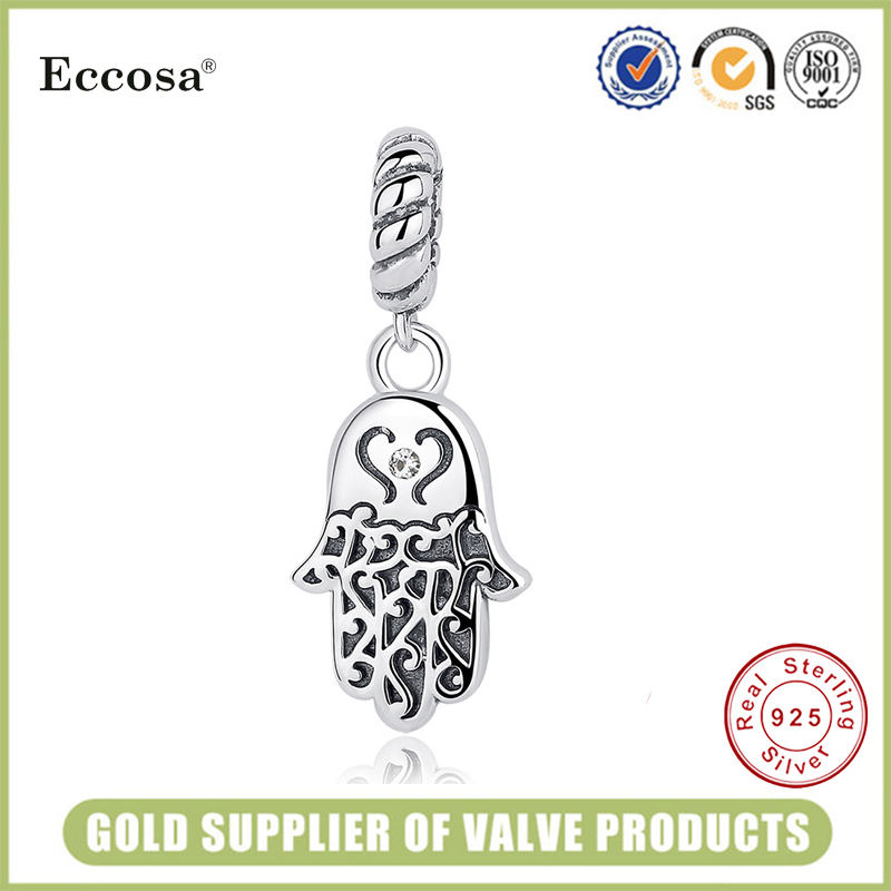 925 Sterling Silver Wholesale Custom Made Charms 925 Sterling Silver Hamsa Hand Lucky Charm