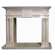 Cultured victorian cream beige marble fireplace