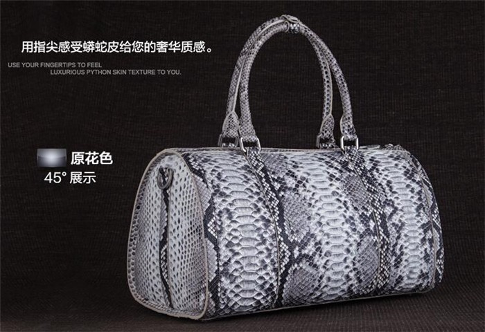 Updated new fashion mens genuine python snake skin leather weekend travel duffle bag_7