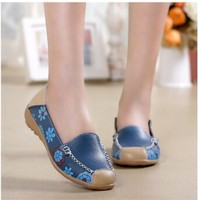 Women leather flats lazy soft leather shoes women's round toe flexible sneakers ballet loafer JH-SE-091