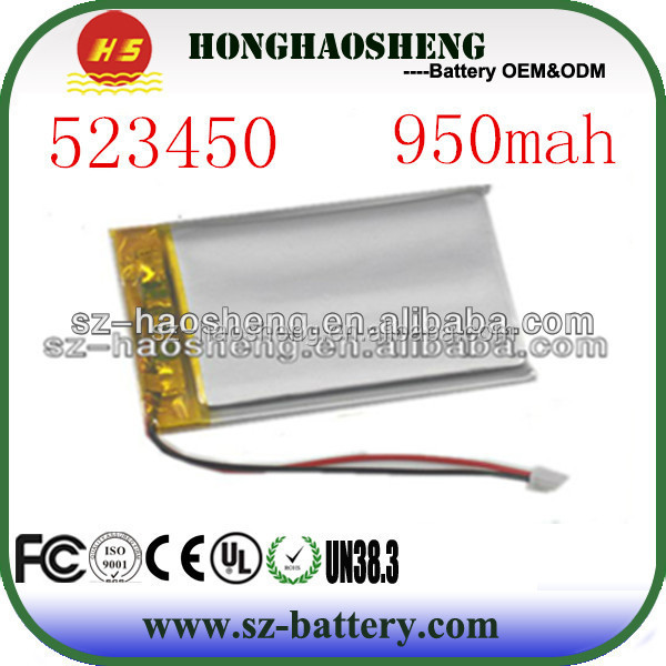 Rechargeable li-polymer battery 3.7v 950mah 523450 for digital products
