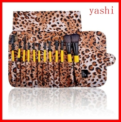 YAESHII 12 pcs Makeup Brushes Set Foundation Eyeshadow Lip Brush With Leopard case