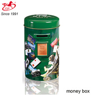 Postbox Shape Tin Money Box With