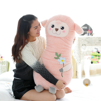 Long body pink plush pillow plush sheep doll