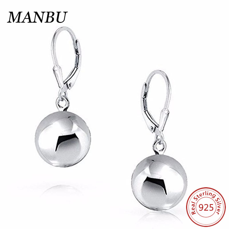 Jewelry Sterling Silver 8mm Round Bead Ball Silver Drop Ball Earrings