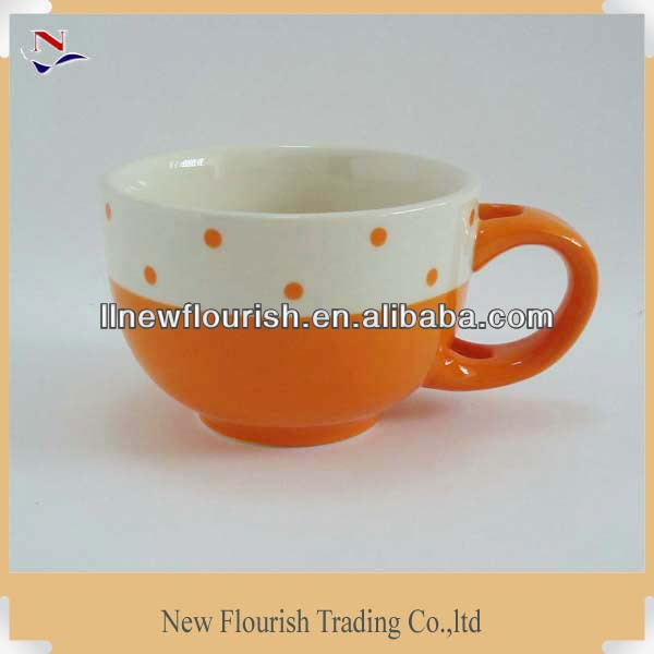 handpainted orange ceramic soup mug coffee mugs ceramic for NFA0383