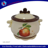 practical round antique apple design ceramic food jar ,stock jar,snacks jar