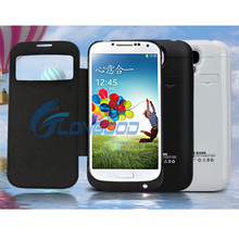 2014 New External Battery Charger Case With Window Leather cover For Samsung Galaxy S4 i9500