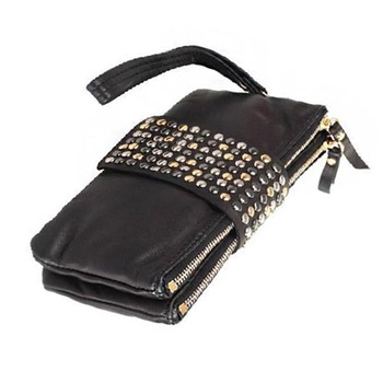 2017 latest design 2 IN 1 long ladies studded rivets wallets leather women hand purse