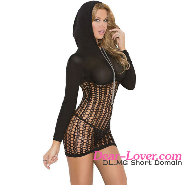 Sexy See Through Black Hooded Crochet Bedroom Wear Nighty Lingerie