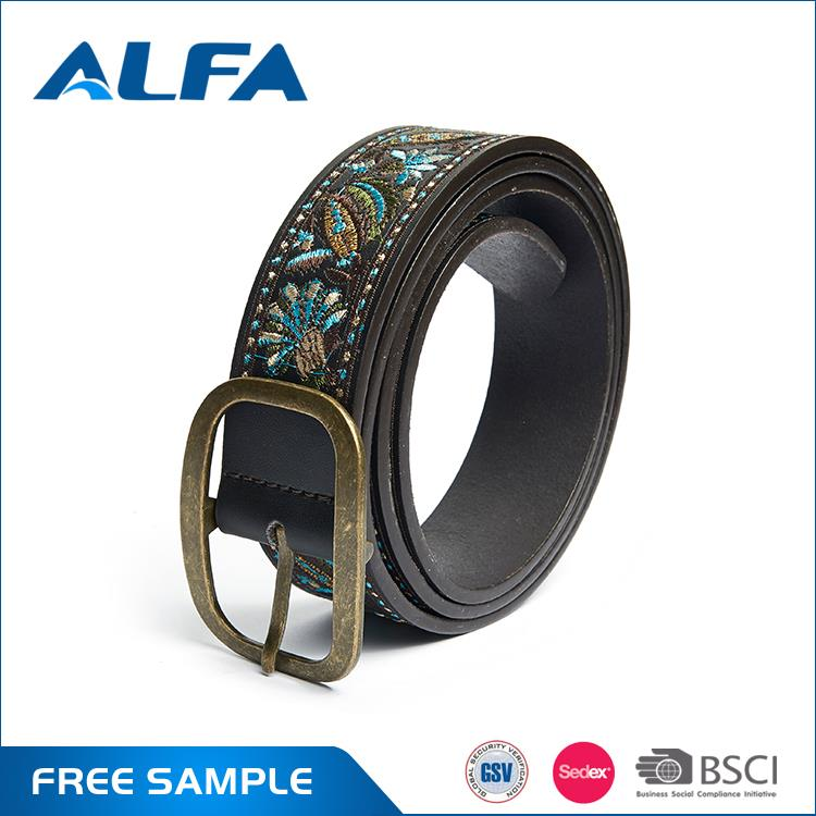 Alfa Hot China Products Wholesale Custom Pu Embroidery Leather Lady Belt