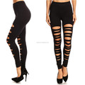 Women Sports Active Training Workout Sexy Cut Out Ripped Leggings