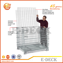 E-DECK Folding Wire Mesh Container/ Stackable Steel Storage Cage for Warehouse