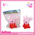 Little singing pig vinyl toy cotton animal toy in display bag for wholesale.