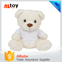Sitting White Bear in T-shirt Stuffed Plush Animal Toy