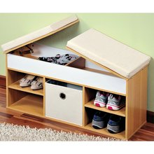 ZH001 Wooden shoe storage cabinet with sponge cushion bench design