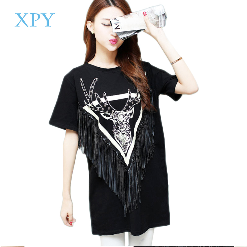 2015 European and American style summer long tassel large size women was thin easing T-shirt