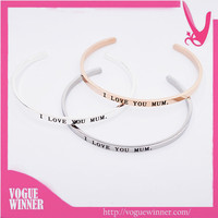 Engraved Bracelet Message Bangle Friendship China 316l Stainless Steel Jewelry