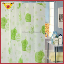 Green Rose printed Peva Plastic Bathroom decorative walmart Shower Curtains