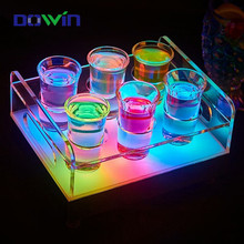 Factory bulk produces wine beer rectangle customized light up bottle acrylic led serving tray