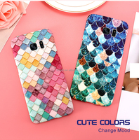 2017 New Colorful 3D Scales Fish PC Matte Phone Case for samsung s8 s8 plus s7 s7 edge Mermaid Back cover