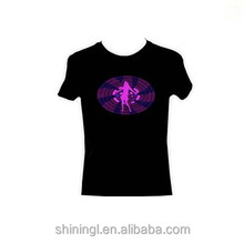 100% cotton Sound activated el T shirt/ Equalizer El shirt/ El flashing t-shirt