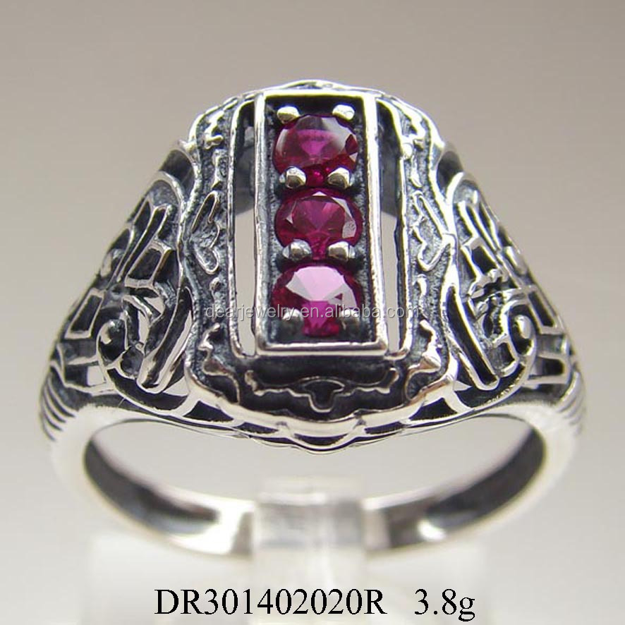 Ebay Antique Synthetic Ruby Zircon Silver Rings Antiquity Styles