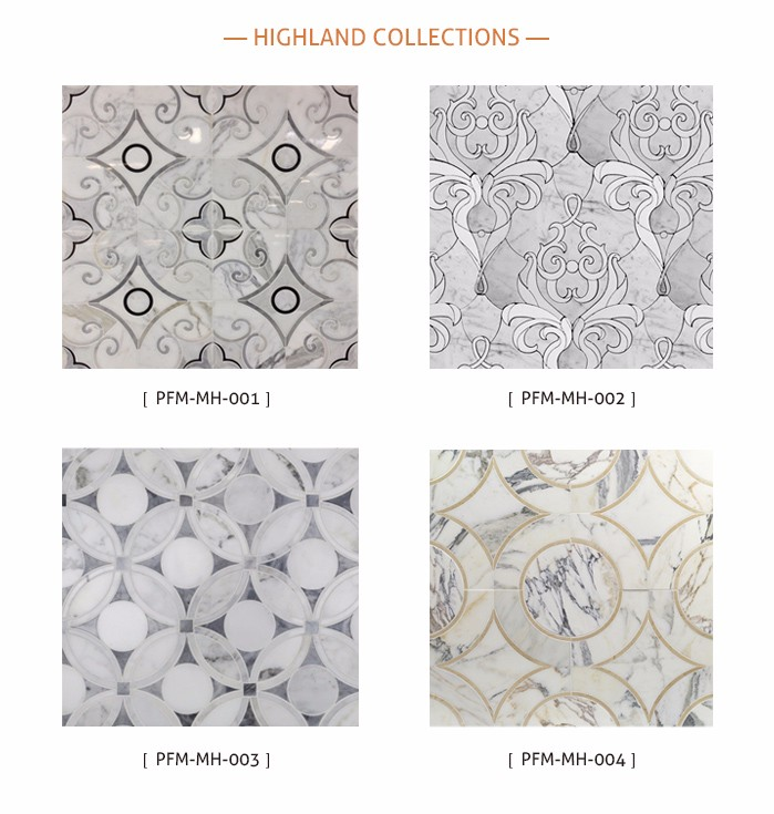 low price polished luxury Waterjet marble pattern floor design