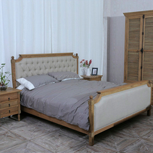 Antique Bedroom Furniture Solid Wood Frame King Size Bed