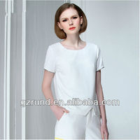 2014 European and American white blank t-shirt women for women's clothing manufacturer model-757