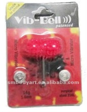Silicone vibrating tongue barbell with good package vibrating body piercing jewelry-SMVJ025