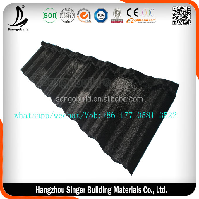 Building Materials Roofing Tile, Bent Type Sun Stone Coated Metal Roof Tiles