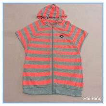 Wholesale custom children girls striped pink and gray zip up hoodies, kids summer hoodies & sweatshirts