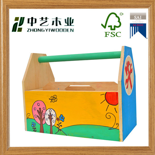 FSC Christmas crafts plywood assemble DIY hand painted classic toolbox kit toy kid toy wood educational toys for kids gift