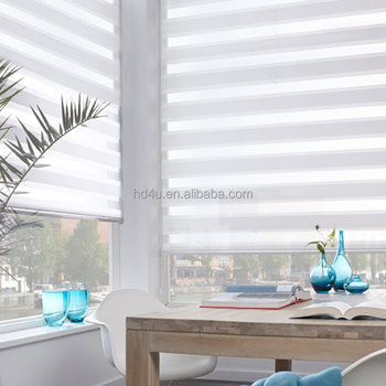 100% Polyester European style Zebra blinds two layer roller blinds fabric