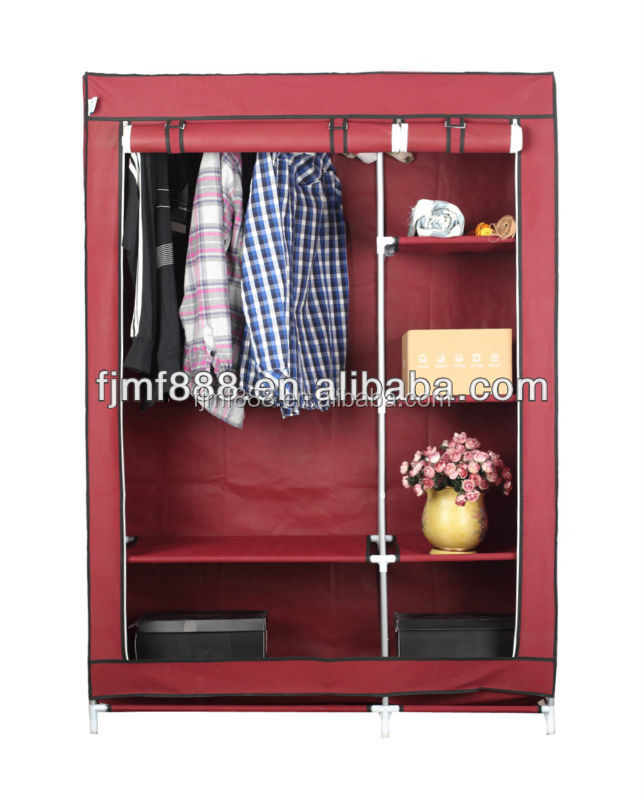 folding diy non woven iron cupboard with hanging rod