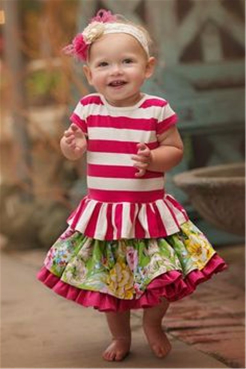 fashion stripe ruffle baby boutique suits