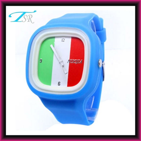 Newest national cheap fashion silicone flag watch with interchangaeble strap and big face water resistant brand style