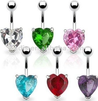 Heart shaped CZ stone belly button ring navel bar piercing jewelry